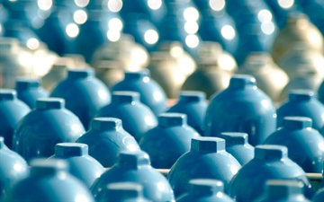 Gas cylinders, Close up.